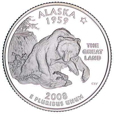 2008 S State Quarter Alaska Gem Proof Deep Cameo 90% Silver US Coin