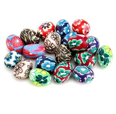 Oval Flower Finding Beads Glass Multi-Colored Jewelry 20pcs DIY