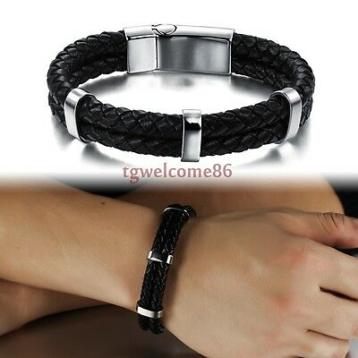 """men's fashion jewelry stainless steel with two row leather bracelet 7.87"""" 15mm"""