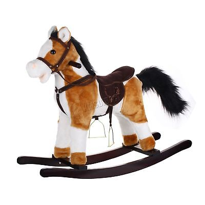 Kid Children 68cm Small Light Brown White Rocking Horse Sound Traditional Toy