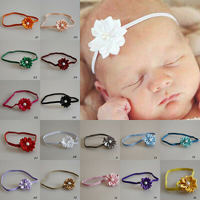 Nice Baby Kids Girls Toddler Mini Pearl Flower Headband Hair Bow Band Accessory
