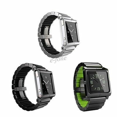 Aluminum Multi-Touch Watch Band Strap Bracelet Cover for iPod Nano 6 6th Gen