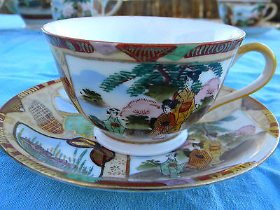 VINTAGE FINE PORCELAIN LUNCHEON TEA SET FOR TWO WITH AN EXOTIC FLAIR