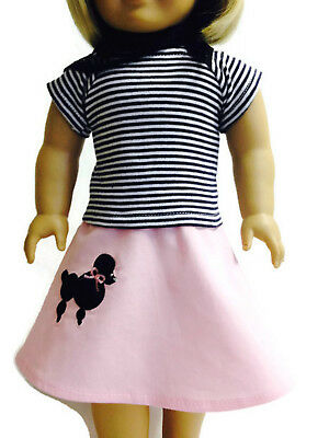 Poodle 3 piece Skirt Set made for 18 inch American Girl Doll Clothes