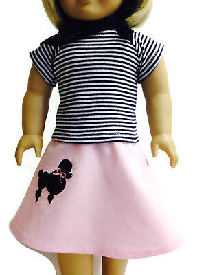 "Poodle 3 piece Skirt Set made for 18""American Girl Doll Clothes"