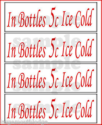 IN BOTTLES ICE COLD 5C  2 INCH GUMBALL DECAL SET COKE RED (4)