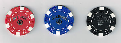 JACK DANIEL WHISKEY COMPANY( 3 )OLD # 7 POKER GAMING CHIPS GREAT FOR COLLECTION!