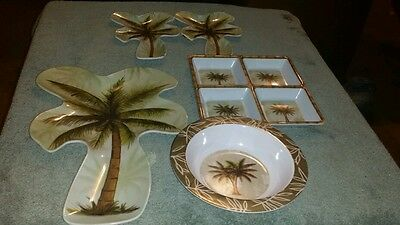 A Cute Set of 5 Pieces Palm Tree Melamine Ware