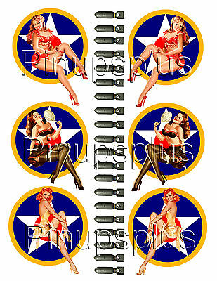 USA WWII Vintage Retro Pin-up Girl Bomber Art Vinyl Decal Stickers #1048