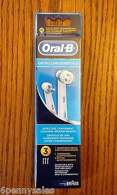 3 ORAL-B Braces Care Replacement Refills Tooth Brush Heads Orthodontics Ortho