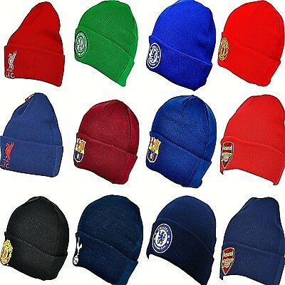 OFFICIAL CLUB CRESTED FOOTBALL TEAM KNITTED WOOLY CUFFED BEANIE HAT Kids & Adult