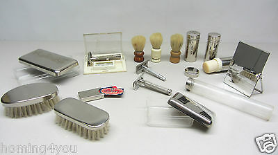 Vintage Rasier Zubehör Barbier Gillette made in USA , Wilkinson, Rotbart Pinsel