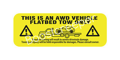 WRX Hatchback AWD Tow Warning Decal Sticker adhesive inside mount
