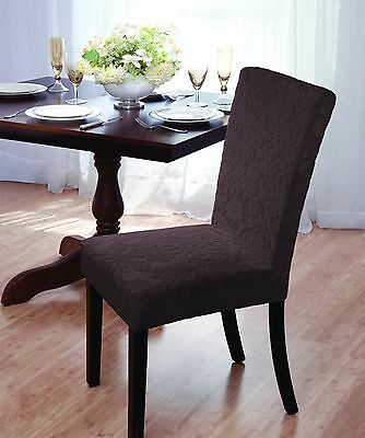 Luxurious Velvet Damask Dining Chair Cover, Stretch, Dining Room, Brown