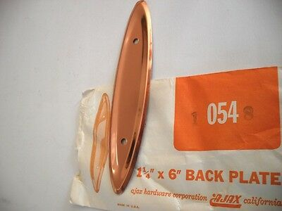 Vintage NOS Polished COPPER Concave Face Oval Drawer Pull BACKPLATES Ajax Brand