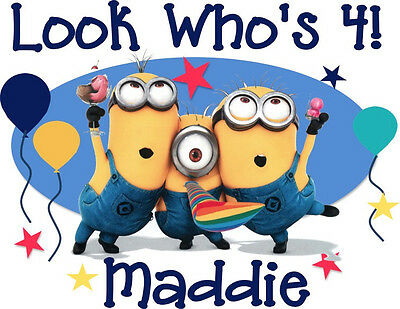 Despicable Me Minion Inspired Personalized Birthday T-shirt Custom Tee Bday Tee