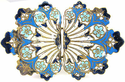 ANTIQUE VICTORIAN ORNATE BLUE CHAMPLEVE ENAMEL DRESS BUCKLE FRENCH RUSSIAN
