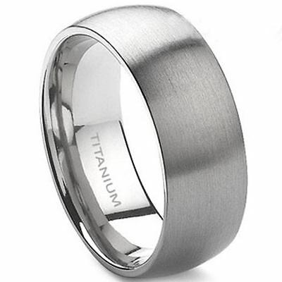 8MM Solid Pure Titanium Ring Size 7-15 Brushed Pure Plain Classic Wedding Matte
