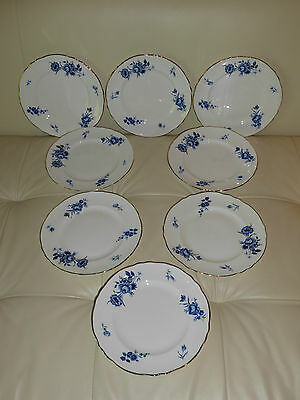Crown Staffordshire Fine Bone China Salad Plates With Blue Flowers Pattern A 802