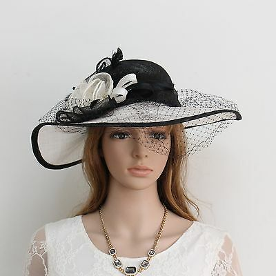 New Woman Church Derby Wedding Sinamay Dress Hat Red 266 Black&White