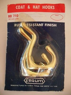 Vintage NOS Brass Plated Double Coat HOOKS Robe Towel Bathroom Closet FERUM • CAD $25.40