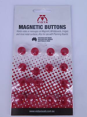 16 x RED 15mm Vista Whiteboard Magnetic Button VWMAG15R