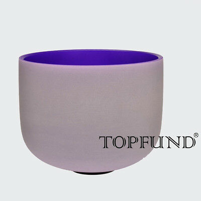 """Purple B Crown Chakra Frosted Quartz Crystal Singing Bowl 10""""+Mallet+O-ring"""