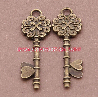 P225 15pcs Antique Bronze key Pendant Bead Charms Accessories wholesale