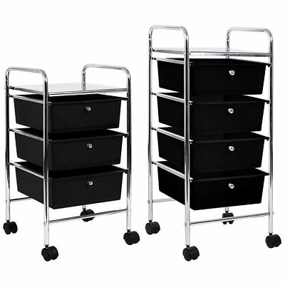 3 4 Tier Drawer Trolley Black Chrome Cart Storage Tool Rack New By Home Discount