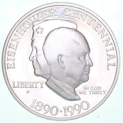 1990 P Eisenhower Centennial Proof Commemorative 90% Silver Dollar US Coin
