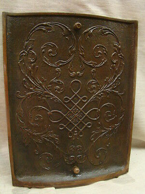 Antique Late 1800's Cast Iron Ornate Fireplace Cover Very Ornate Design A