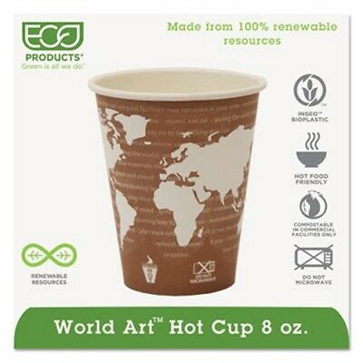 World Art 8-oz. Compostable Hot Cup, 1,000 Cups (ECP EP-BHC8-WA)