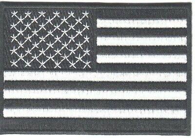 AMERICAN FLAG, BLACK & WHITE, USA, Biker, Shoulder/Iron On Embroidered Patch
