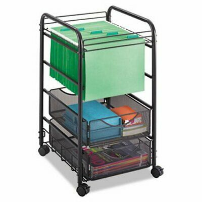 Safco Onyx Mesh Mobile File, Two Drawers, 15-3/4w x 17d x 27h, Black (SAF5215BL)