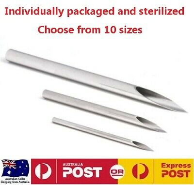2 x BODY PIERCING NEEDLES INDIVIDUALLY PACKED AND STERILIZED CHOOSE SIZE 8g-18g