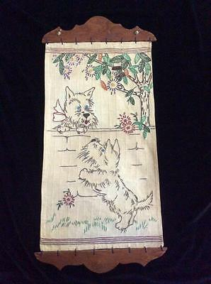 Vintage Scottie Dog Hand-Embroidered Wall Hanging with Wooden Supports