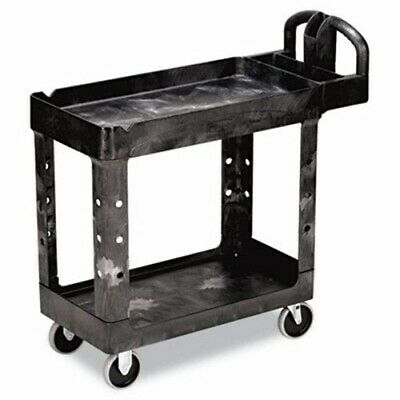 Rubbermaid 4500-88 Heavy-Duty 2-Shelf Utility Cart, Black (RCP 4500-88 BLA)