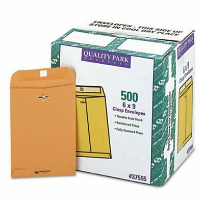 Quality Park Clasp Envelope, 6 x 9, 28lb., Brown Kraft, 500 Envelopes (QUA37555)