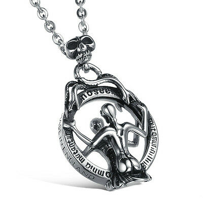 Watching Mirror Woman Skull Necklace 316L Stainless Steel Pendant PERFECT Gift !