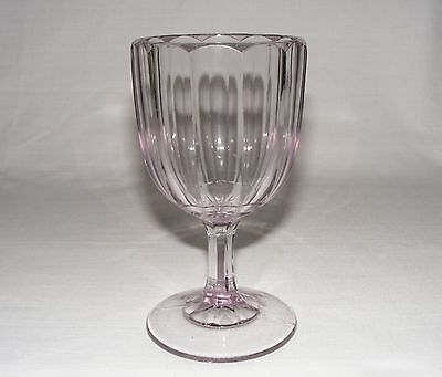 "ANTIQUE 1890 EARLY AMERICAN PRESSED GLASS 6"" COLONIAL GOBLET  Eapg ~ SUN PURPLE"