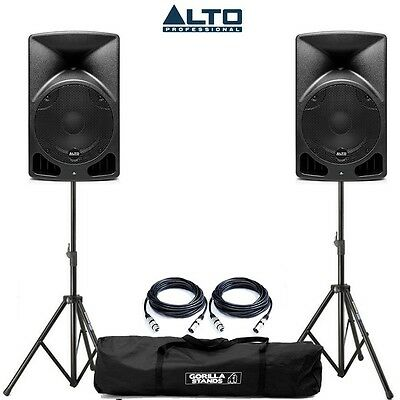 Alto TX10 Active Powered PA DJ Speakers PAIR with Gorilla Stands Cables & Bag