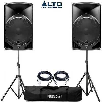 Alto TX15 Active Powered PA DJ Speakers PAIR with Tripod Stands Cables & Bag