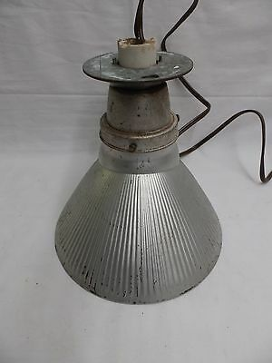 Vintage Industrial Ceiling Light Silver Mercury Glass Shade Steampunk 4045-14