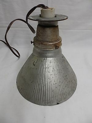 Vintage Industrial Ceiling Light Silver Mercury Glass Shade Steampunk 4047-14