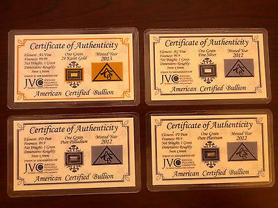 ACB Gold Silver Platinum Palladium 1GRAIN BULLION MINTED Bars w/COA'S (4 bars) +