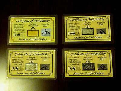 ACB Gold Silver Platinum Palladium 1 GRAM Combo Pack BULLION MINTED Bars COA's +