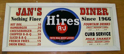 Personalized Vintage Diner Style Soda Menu Board w/ Hires Root Beer Tin Sign