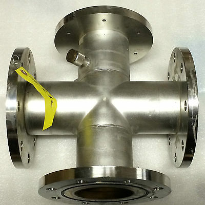 "4"" High Vacuum Cross, 3 - 9"" ASA Flanges, 1 - 8""?, 2 - Swagelok, Stainless Steel"