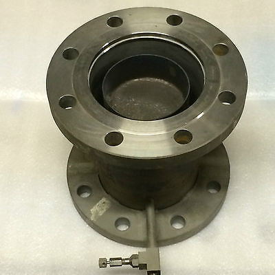 "5"" High Vacuum Nipple, 8.25 inch long, 9"" Flanges, Gas Inlet, Stainless Steel"