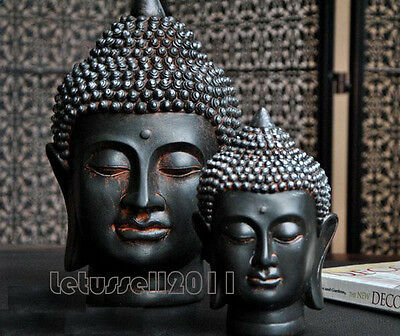 New Balinese Black Buddha Head Statue Sculpture Home Decor -2 Sizes Large/small